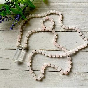 Rose Quartz Matt Double Quartz Mala Necklace